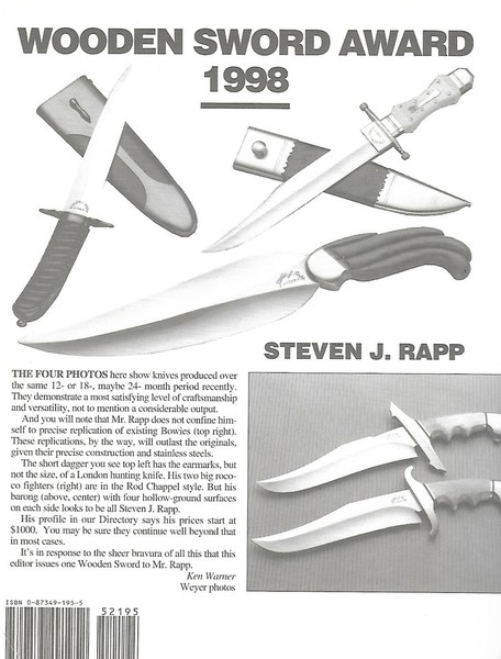KNIVES Annual Publication WOODEN SWORD AWARD (inside cover)