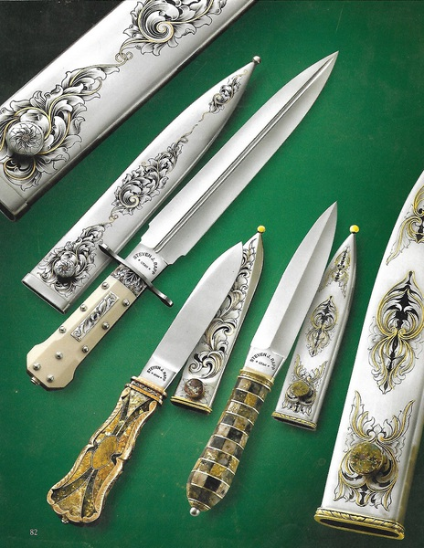 Kimball Dagger, Bob's Gold Quartz Bowie, Windows Gold Quartz Dagger